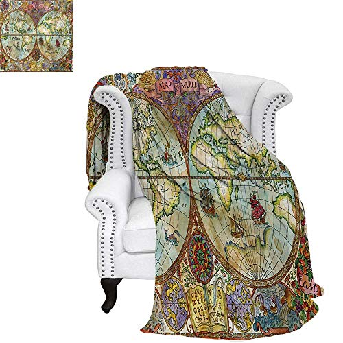 (warmfamily Watercolor Summer Quilt Comforter Vintage World Map Antique Grunge Drawings Mystic Symbols Adventure Discovery Digital Printing Blanket 90