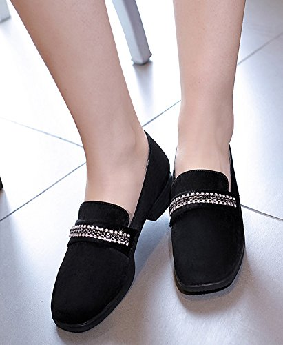 Aisun Women's Comfy Faux Suede Rhinestones Loafers Shoes Black ESMEDUILS