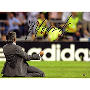 Jose Mourinho On Knees Hand Signed Inter Milan 12 inch x 16 inch Photo: Champions League Winners Icons Authenticated Third Party Hologram