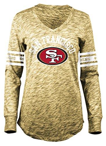 Nfl Womens Jerseys Shop (NFL San Francisco 49ers Women's Space Dye Long Sleeve V-Neck Tee, Yellow, Medium)