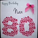 Product review for Happy Birthday Card - Nan 80th Pink Flowerbed - Handmade Card