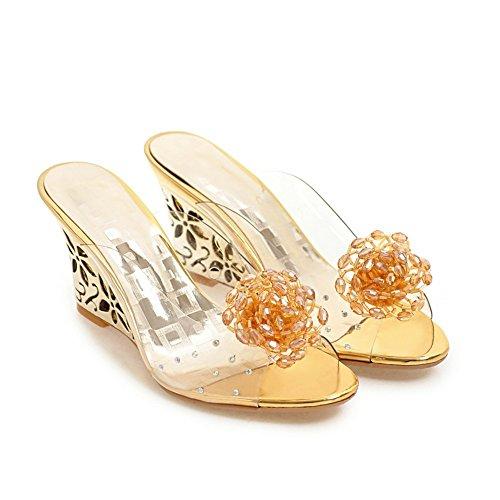 Talones Mujer Pie Gold Porciones Furtivamente Del Zapatillas Transparente Mirar Vestir Zapatos Slingback Dedo Pvc Sandalias 5rrgaxUR