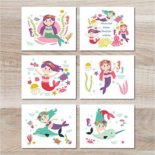 (Mermaid Decor - Wall Art Prints (Set of 6) - 8x10 - Unframed)