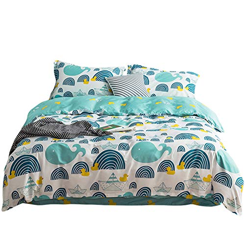 LAYENJOY Whale Duvet Cover Set Twin Size Cartoon Fish Boat Duck Ocean Nautical 100% Cotton Bedding Set for Kids Teens Boys Girls Reversible Comforter Cover