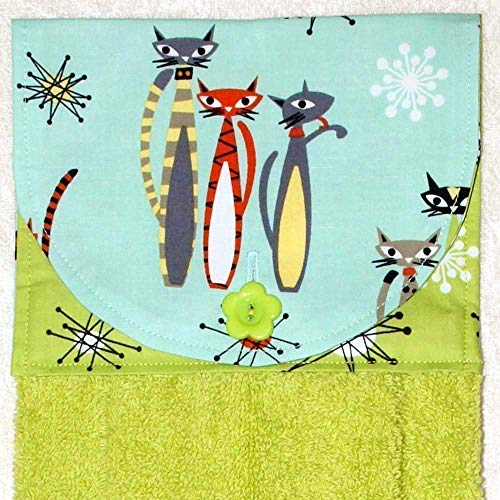 Hanging Hand Towel - Mod Cats On Aqua & Green Starburst Accent Fabric - Plush Green Kitchen Towel ()