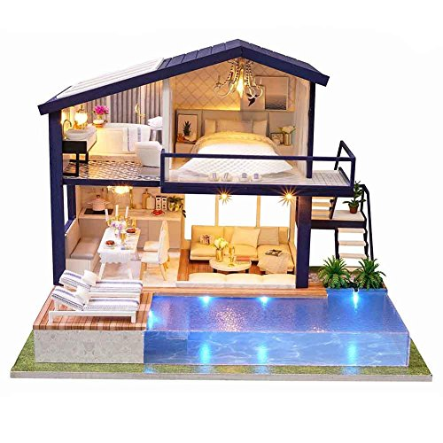 (DIY Wooden Miniature Dollhouse Kit (Time Apartment), Mini House Woodcraft Construction Kit-3D Wooden Puzzle-Model Building Set DIY Cabin Wooden Villa Gift for Christmas Holiday Birthday)