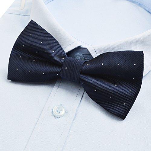Papillon e scuro fazzoletto per alizeal scuro puntini con argento blu uomo FTwFrq