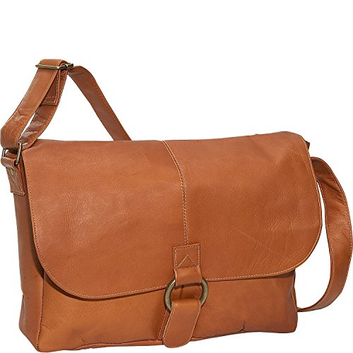David King Leather East/West 1/2 Flap Messenger Bag in -