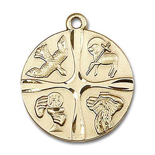 14kt Yellow Gold Christian Life Medal 1 x 7/8 inches by Unknown