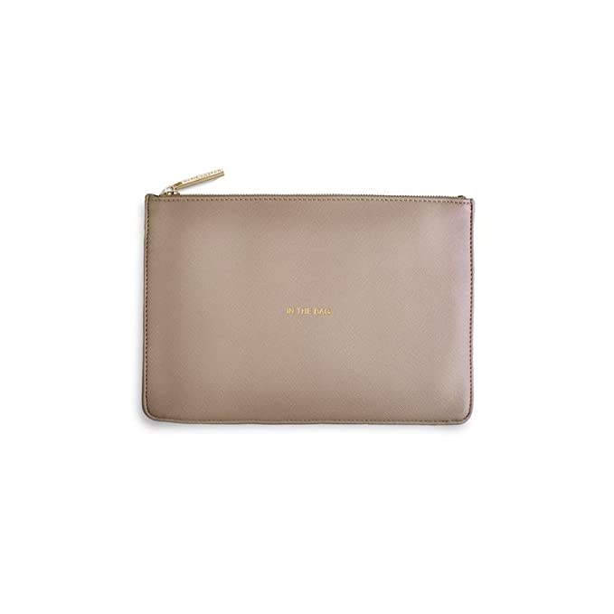 Katie Loxton Perfect Pouch Shine Bright Pale Grey Ladies Clutch With Gift Bag