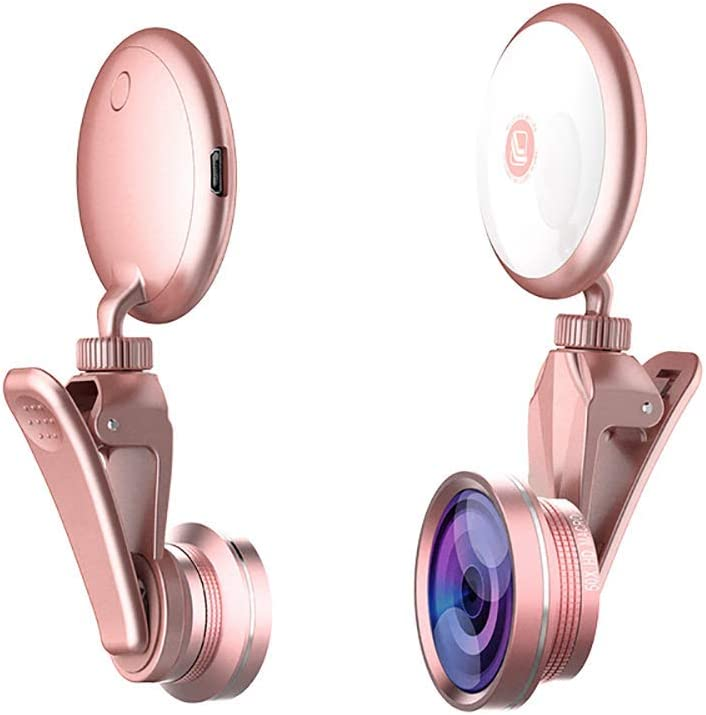 Selfie Light Ring with Mobile Camera Lens,360° LED Flash Light + 4K HD Wide Angle Lens + 185° Fisheye Lens + 50X Macro Lens, for Phone, iPad, Samsung Galaxy, Photography Phones Tablet, Laptop (Pink)