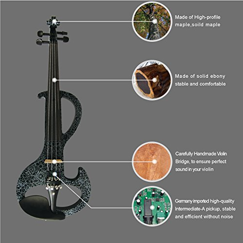 Aliyes Premium Electric Violin 4/4 Full Size Violinist/Student Violin For Beginner Solid Wood Violin Kit String,Shoulder Rest,Rosin(violin) by Aliyes