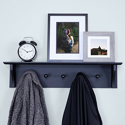 - Ballucci Floating Coat and Hat Wall Shelf Rack, 5 Pegs Hook, 24