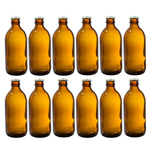 12 oz Home Brewing Dark Amber Glass Empty Refillable Beer Bottles with Gold Crown Caps Tops (12 PACK) + Measuring Cup by JUVITUS