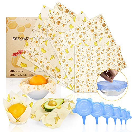 ARCBLD Beeswax Wraps and Silicone Stretch Lids, Eco-Friendly Sustainable Reusable Durable BPA-Free, cover for Fruits & Vegetables and Bowls to Keep Fresh, 6 Pack Food Wraps + 6 Pack Silicone Lids