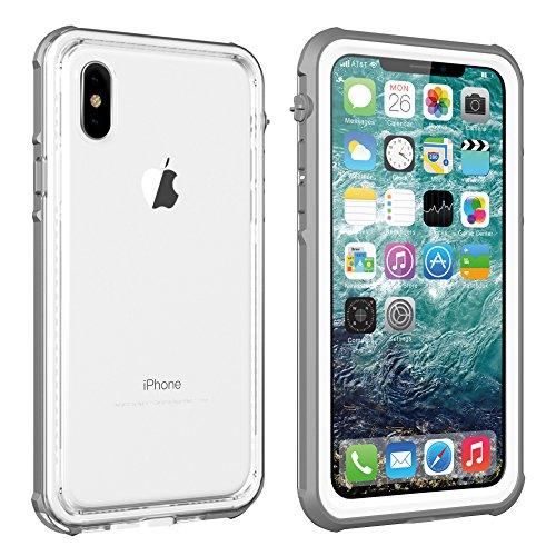 パイロットフェミニン証拠iPhone x/xs 5.8インチ 防水ケース IP67規格 完全防水 耐衝撃 衝撃吸収 防水ケースフェイスID認証対応 操作便利 脱着簡単 保護タッチパネルスクリーン付き (灰色)