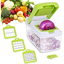 Adoric Vegetable Slicer Dicer, Vegetable Chopper Cutter, 3 Interchangeable Blades Set with Food Container & Cleaning Brush for Potato, Tomato, Onion, Salad, Fruit