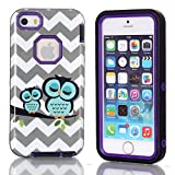 iPhone 5C Case,5C Case,$Uncle.Y Smart Owl 3 in 2 Hybrid TPU Silicone + Hard Strong Case High Impact Wavy Fit for iPhone 5C Case Purple