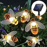 Semilits Solar String Lights 20LED Outdoor Waterproof Simulation Honey Bees Decor Garden Xmas Decorations Warm White