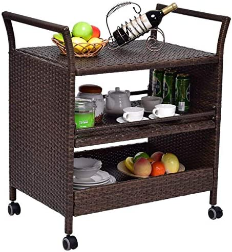 Tangkula Patio Wicker Serving Cart Portable Rolling Wicker Bar Cart Kitchen Trolley Dining Storage Cart Storage Shelves Rack Indoor Outdoor Furniture