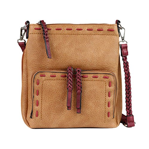 Cinnamon Leather Handbags (Concealed Carry Purse - YKK Locking Lorelei Braided Cross Body Organizer Gun Bag by Lady Conceal (Cinnamon with Burgundy Trim))