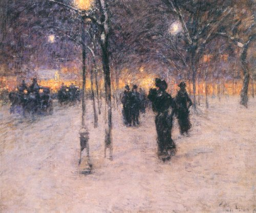 Union Square Print (Early Evening, Union Square-Hassam - CANVAS OR WALL ART PRINT)