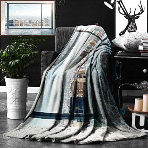 Unique Custom Digital Print Flannel Blankets Modern Decor Empty Loft Cityscape Apartment Buildings Industrial Landscape Image Light Super Soft Blanketry for Bed Couch, Twin Size 80 x 60 Inches - Locker Twin Loft Bed
