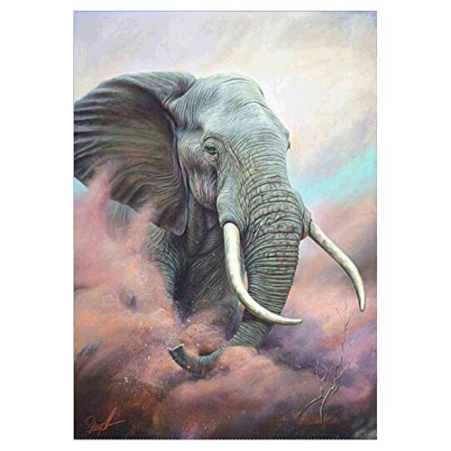 VKTECH Full Drill 5D DIY Diamond Painting Kit Sandstorm Elephant Round Rhinestone Embroidery Canvas Cross Stitch Craft Gift for Living Room Bedroom Decor 16 X 12 -