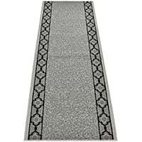 Custom Runner Trellis Border Roll Runner 26 Inch Wide x Your Length Size Choice Slip Skid Resistant Rubber Back 2 Color Options (Grey, 15 ft x 26 in)