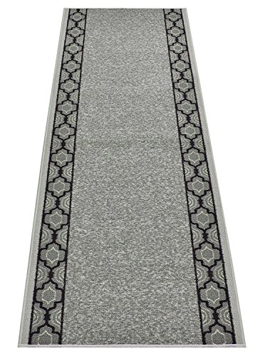 Custom Runner Trellis Border Roll Runner 26 Inch Wide x Your Length Size Choice Slip Skid Resistant Rubber Back 2 Color Options (Grey, 29 ft x 26 in) 29' Nylon Rug