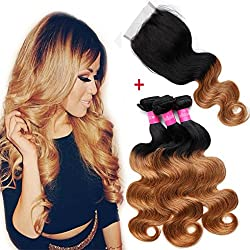 Ombre Brazilian Body Wave 3 Bundles with Closure (20 22 24 with 16 Free Part Closure) 8A 100% Virgin Remy Ombre Human Hair Weave Bundles with Free Part Lace Closure Ombre Brazilian Hair Bundles