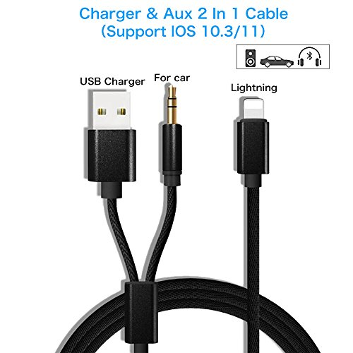 Aux Cord for iPhone 7, iPhone 7 Plus Aux Adapter, USB charging plug/3.5mm Audio Cable Lightning Car Aux Charger Adapter for iPhone 7/7 Plus, Perfect for Car/Home Stereos(Supports iOS 10 / 11)