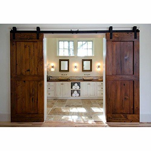 WINSOON 5FT Antique Double Sliding Barn Door Hardware Roller Track Kit Black, 4-18FT for - Shutter Room Door 3 Panel