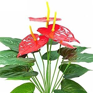USRENZAOHUA 1Pc Best Quality 18Heads 5 Anthurium Decorative Flowers&Wreaths Artificial Flowers No Vase Pot Plants Home Office Party Decor 2