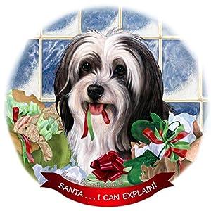 Tibetan Terrier Black/White Dog Porcelain Ornament Pet Gift 'Santa. I Can Explain!' 10