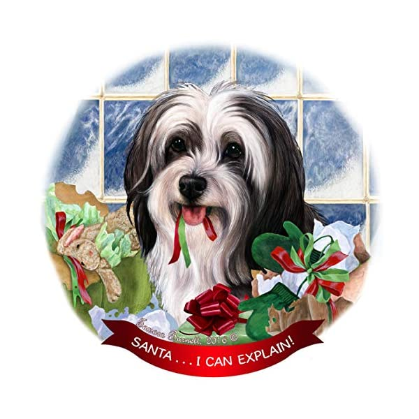 Tibetan Terrier Black/White Dog Porcelain Ornament Pet Gift 'Santa. I Can Explain!' 1