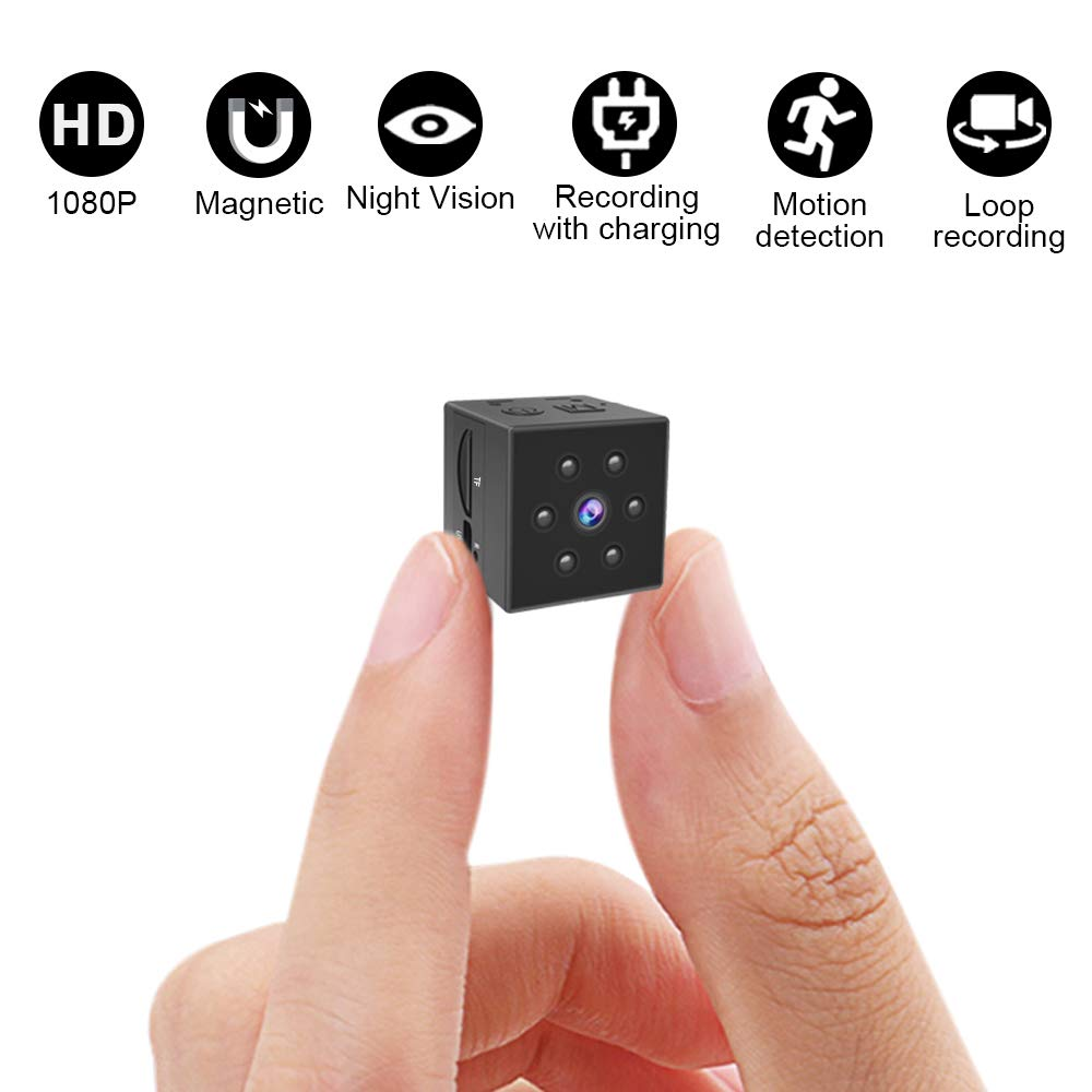 Gurmoir Hidden Camera Mini Spy Cam,Mini HD 1080P Nanny Cam with Night Vision and Motion Detection – Indoor Outdoor Portable Sports DV Video Recorder Security Camera for Home, Car, Office No APP