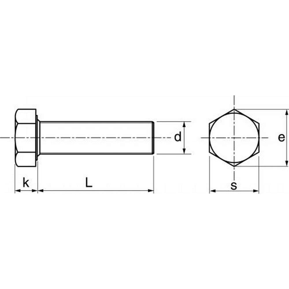 10X Sechskantschrauben A2 M24 Vollgewinde 24x70 DIN933 Edelstahl