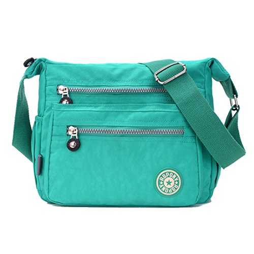 Women Casual Nylon Howoo Girls green Handbag purple Travel Messenger Purse for light Crossbody Multi Pockets Bag mint Shoulder Bag OxxRrdw