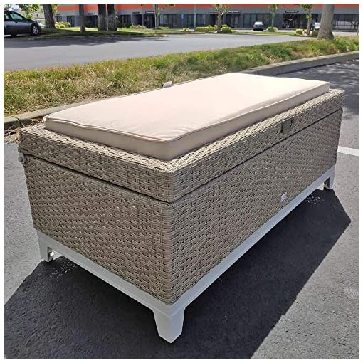 Wondrous Rattan Wicker Deck Storage Box Small Outdoor Storage Bench With Seat Cushion Aluminum Frame Tan Rattan And Beige Cushion Creativecarmelina Interior Chair Design Creativecarmelinacom