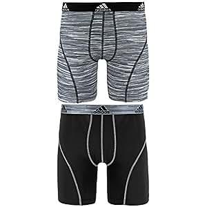 "adidas Men's Sport Performance Climalite 9"" Midway Underwear (2 Pack), Black Looper Print/Grey, Small"