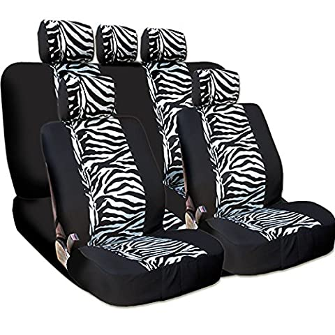 New and Unique YupbizAuto Brand Safari Zebra Print Universal Size Car Truck SUV Seat Covers Set High Quality Velour and Mesh Material Gift Set Smart Pocket (Safari Print Seat Covers)