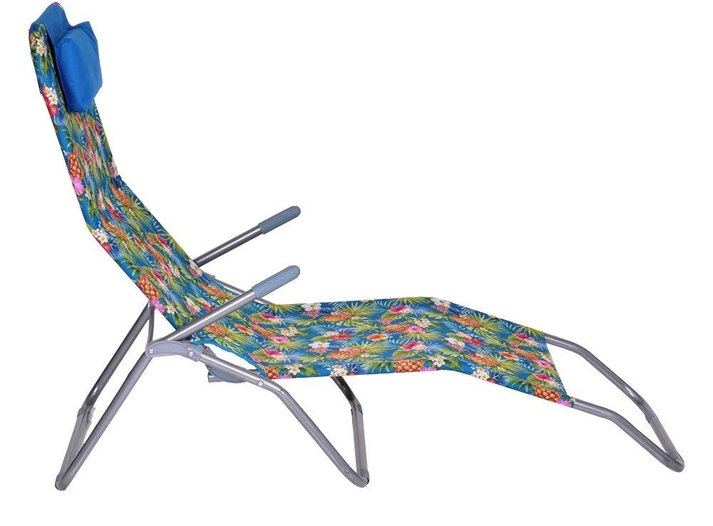 Enrico Coveri Garden Lettino Sdraio Basculante e Reclinabile in Acciaio e Tessuto Textilene Giallo Perfetta per Arredo Giardino Esterno e Mare