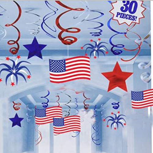 American Flag Style Paper Swirls Décor Patriotic Party Decoration-Red/Blue/Silver/White Hanging Streamers & Glittering Star & USD Flag Banner for Fiesta, Carnival Celebration, Independence Day (Set of 30) -