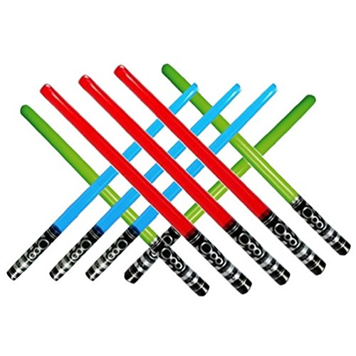 Inflatable Play Light Saber - Great for Star Wars Parties and Favors, LARP, Halloween, Christmas Stocking Stuffers, and More! (9 Pack-3 Red, 3 Blue, & 3 Green)