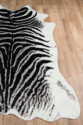 Erin Gates by Momeni Acadia Zebra Black Faux Hide Area Rug 5 3 X 7 10