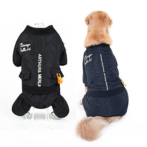Winter Warm Big Large Dog Clothes For Pet Dog Snowsuit Hoodie Jumpsuit Golden Retriever Dog Cotton Padded Jacket Coat Clothing (7XL, Black) - Suit Snowsuit