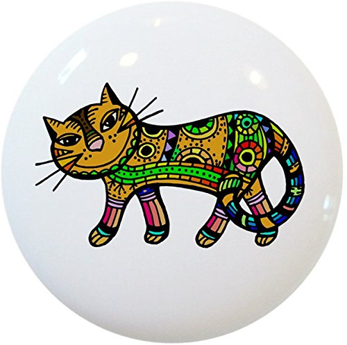 Carolina Hardware and Decor 2411 Yellow Abstract Cat Ceramic Cabinet Drawer Knob