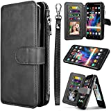 Tinysaturn Galaxy S9 Plus Case, Galaxy S9 Plus Wallet Case PU Leather Wallet Flip Magnetic Kickstand Protective with Zipper Purse& 8 Card Slots [Wrist Strap] Cover case for Galaxy S9+ / S9 Plus-Black