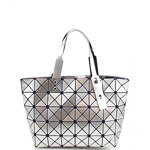 Women Bag Cube Geometric Light Weight Prism Style Glossy and Linen Tall Silver Galaxy Hand Ladies Shoulder Wide xfCqvHwZ